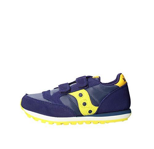 Saucony unisex child Jazz Double Hook & Loop Sneaker, Navy/Green/Yellow, 1 Big Kid US