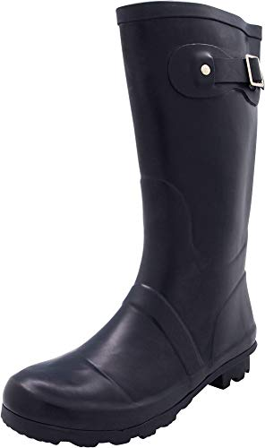 NORTY - Womens Hurricane Wellie Solid Matte Mid-Calf Rain Boot, Navy 40707-8B(M) US