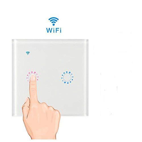 Teepao Interruptor WiFi, Interruptor Tactil Sensor 2 Gang Interruptores Inalambricos Inteligente para Hogar, Compatible con Android y la Aplicación iOS para Smart Home