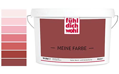Fühl Dich Wohl Meine Farbe rot, matte Wandfarbe rot, hohe Deckkraft, verschiedene Rottöne zur Auswahl (5L, Rotbraun 25-4)