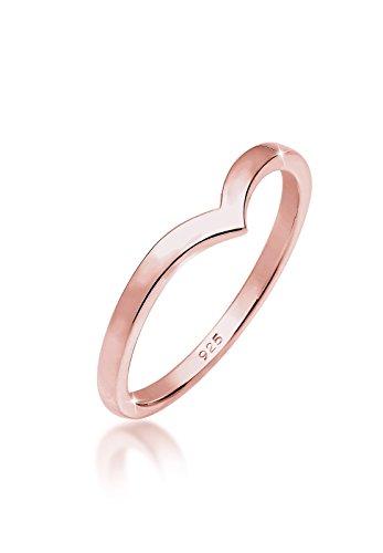 Elli Ring Damen V-Form Geo Stacking in 925 Sterling Silber