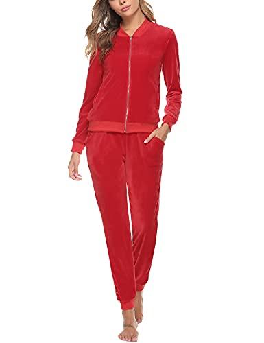 Akalnny Tuta Sportive da Donna Giacche a Maniche Lunghe in Velluto con Cerniera Pantaloni a Vita Alta Set Donna Casual Pigiama Rosso
