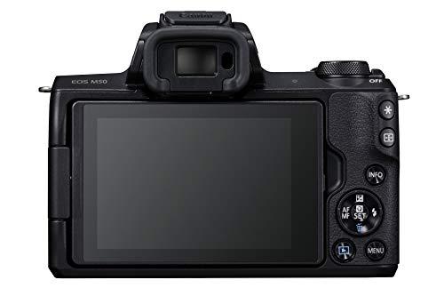 Canon EOS M50 spiegellos Systemkamera (24,1 MP, dreh- und schwenkbares 7,5 cm (3 Zoll) Touchscreen) mit Objektiv EF-M 18-150mm is STM & Amazon Basics Dreibein Stativ 127 cm leicht mit 3-Wege Kopf