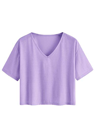 Romwe Women's Plus Size Casual Summer Short Sleeve V Neck Crop Tee Shirts Tops Lilac Purple 3X