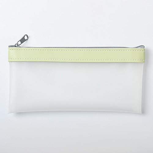 Wagrass Coreano Fashion - Estuche para lápices de piel de TPU transparente, organizador de papelería, estuche escolar (color: verde)