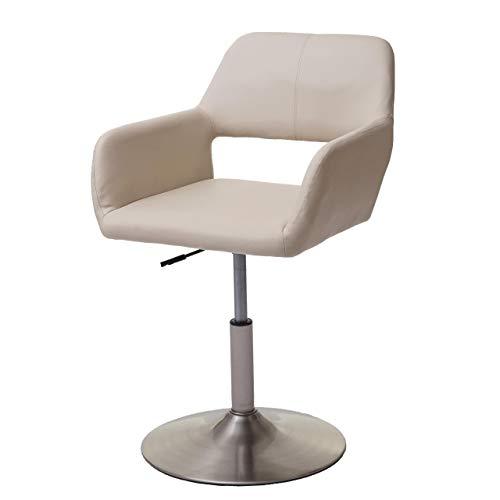 Chaise de Salle à Manger HWC-A50 III, Style rétro années 50, Similicuir ~ crème, Pied en métal brossé