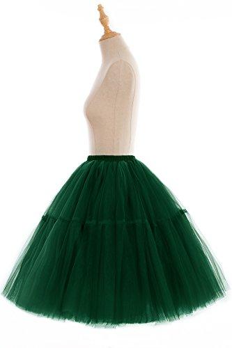 Babyonline Falda de tul para mujer, 5 capas, princesa, plisada, tutú de organza, enagua, verde oscuro, Talla única