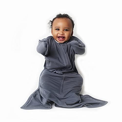 SleepingBaby Poly Zipadee-Zip Swaddle Transition Baby Swaddle Blanket with Zipper, Cozy Baby Sleep Sack Wrap (Medium 6-12 Months   18-26 lbs, 29-33 inches   Classic Grey)