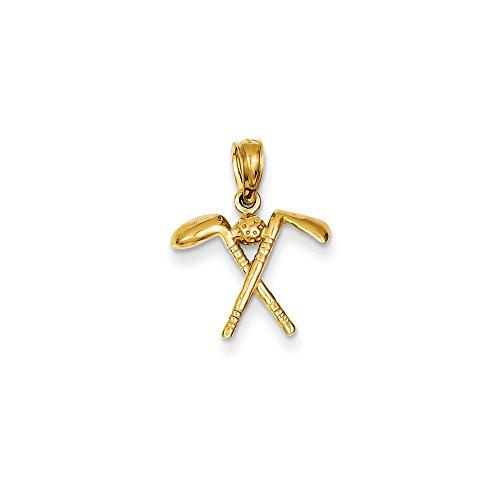 Collar de oro amarillo de 14 quilates con espalda abierta, 3 palos de golf con bola colgante, medidas de 16,9 x 14,2 mm, joyería regalo para mujer