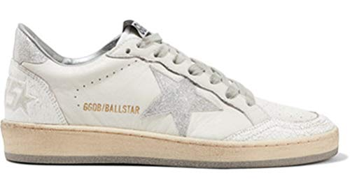 Golden Goose Sneakers Anti-Rutsch Damen Cozy Leather GGDB Schuhe Low Top, Silber - Silber - Größe: 35 EU