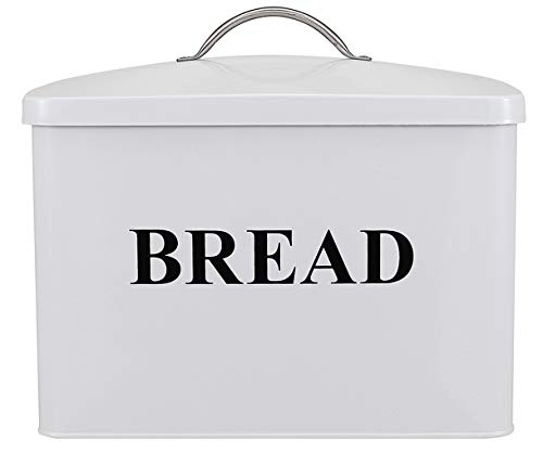 Metal Bread Bin Loaves Storage Canister Tins - Tight Fitting Lids - Countertop Space-Saving, White-Coated Carbon Steel Safty - Style 1 - White