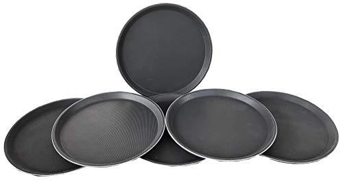 Glitz Distribution Vassoio Ovale, per servire Bevande, con Rivestimento Antiscivolo, Diametro 35,56 cm, Confezione da 6, 3592