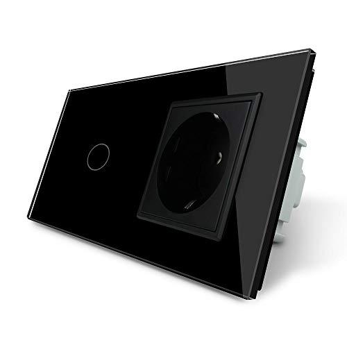 LIVOLO Touch Lichtschalter und Steckdose mit Glasrahmen VL-C701/C7C1EU-12-A Schwarz