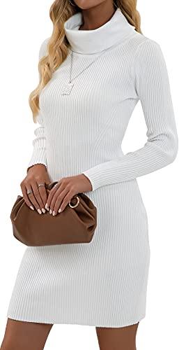 Imuedaen Strickkleid Damen Rollkragen Elegant Langarm Tunika Pullikleid Lang Strickpullover Minikleid Pullover für Herbst Winter (A Weiß, M)