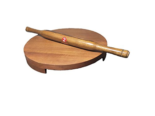 WOODEN ROLLING BOARD & ROLLER,SAGWAN WOOD, CHAKLA BELAN, POLPAT BELAN, CHAPATI MAKER,Valentine Day Gifts (Brown, Teak Wood)