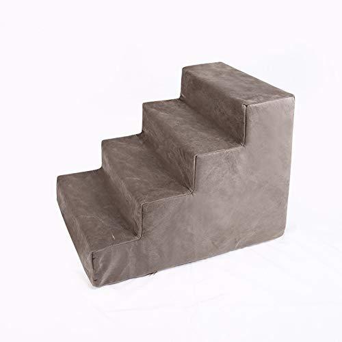 DUCHEN Escalera de felpa para perro, escalera de cama de 3/4 pasos de altura para mascotas, escalera de esponja extraíble, escalera antideslizante y resistente para sofá viejo/gato/perrito
