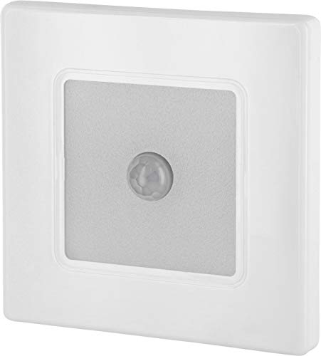 Foco LED empotrable para pared con detector de movimiento, 230 V, cuadrado, color blanco, para caja de interruptores de 60 mm, transformador LED integrado, blanco cálido (3000 K)