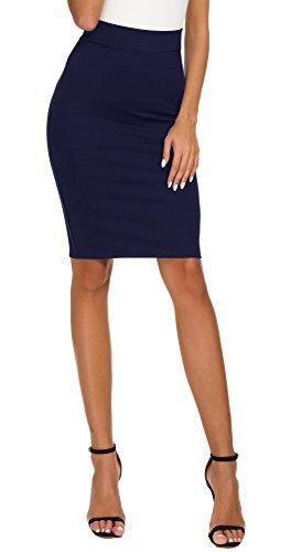 EXCHIC Women's High Waist Bodycon Midi Pencil Skirt (L, Navy Blue)