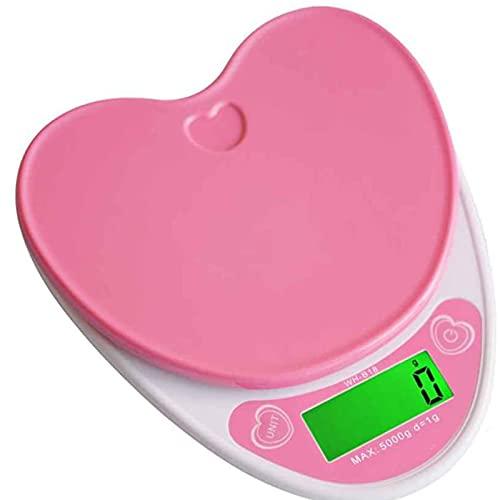 U-A 5kg / 1 G Encantador En Forma De Corazón Escalas De Cocina Digital LCD Wh-b18l Escala, 5 Kg / 1g Balanzas Electrónicas De Alimentos Dieta De Cocción Banco De Pesaje Escala Electrónica