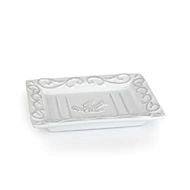 Pre de Provence Soap Dish With A White-Washed Terracotta Finish, Use In Bathrooms, By Kitchen Sink, And Laundry or Mud Room