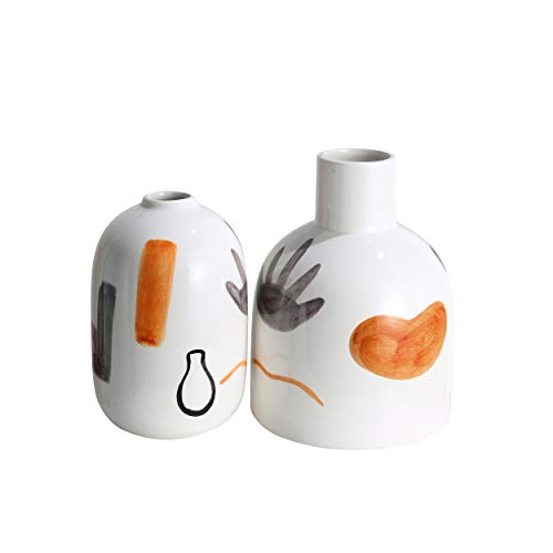 TERESA'S COLLECTIONS Ceramic Modern Vase with AbstractPatterns, Decorative Orange and White Vase for Table, Mantel, Living Room, Fireplace Decoration ( Set of 2 )