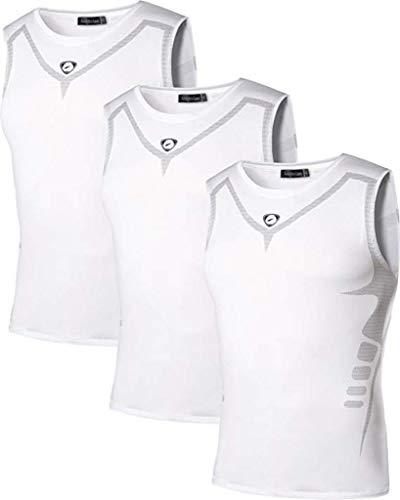 jeansian 男性用 ファッショ メンズ Tシャツ タンクトップ 袖なし 速乾性 3 Packs LSL207 PackF S