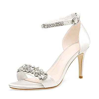 LISHAN Women's Satin Bridal Rhinestone Ankle Buckle Strappy Sandals Jewel Embellished Mid Kitten Heel Party Wedding Dress Shoes White Size 8