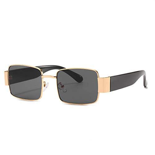 hqpaper Gafas de sol retro europeas y americanas Gafas de sol con personalidad Gafas grandes de moda-Marco dorado Película negra y gris