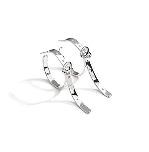 MXHJD Silver Color Big Hoop Earrings Korean Geometric Metal Belt Shape Circle Earrings for Women Female Trend Jewelry Gift
