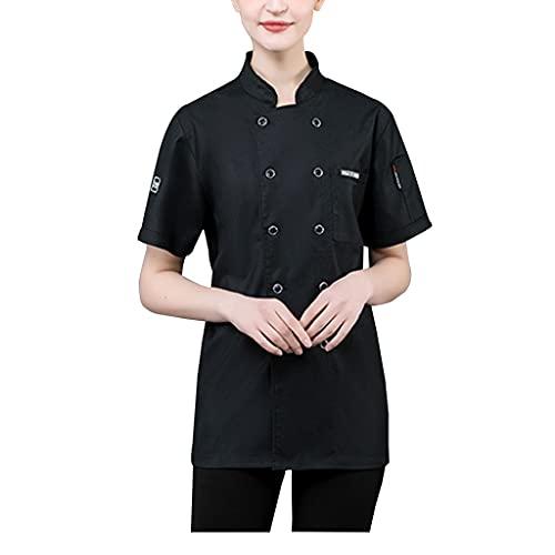 FJL Unisex Chef Giacca Corto Manica Coolnet Ventable Maglia Indietro Disegni Uomini (Color : Black, Size : XL)