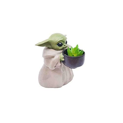 Mini Baby Yoda Planter Pot,Flower Pot with Hole Christmas Birthday Gift Home Decor