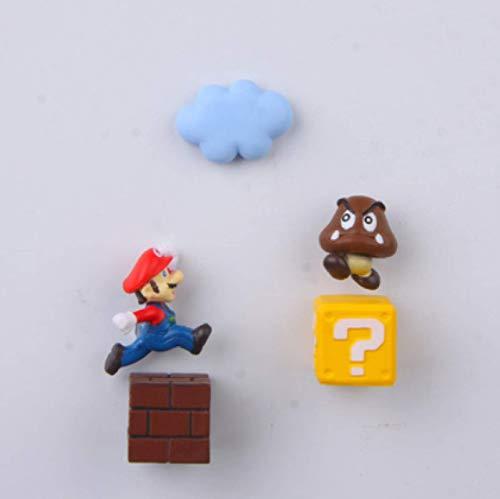 5 Unids / Set Super Mario Imán De Nevera 3D Tridimensional Mario Imán Decorativo Creativo Lindo Pegatina De Mensaje De Piedra De Hierro