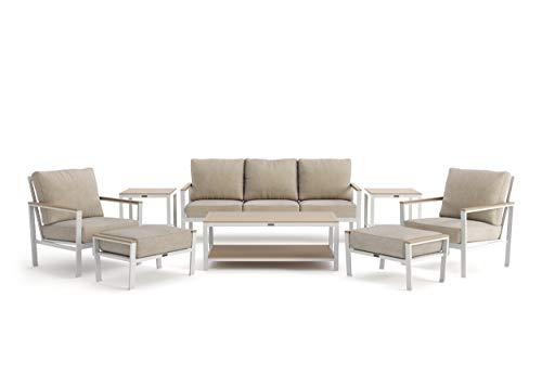 Winston Echo Cushion - 8-Piece Sofa, Stationary Lounge Chair, Ottoman and Side Table Seating Set - Fog Frame - Beech Wood Armcaps - Sunbrella Cast Ash Fabric