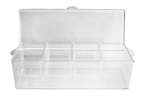 Ice Chilled Condiment Server and Organizer with 4 Removable Trays. Clear Caddy with Lid. Holds Fruit, Veggies, Cheese and more. Good for Pizza, Sundae, and Taco Toppings. Bar Top Condiment Cooler.
