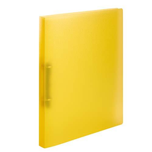 HERMA 19161 Ringbuch DIN A4 Transluzent Gelb, 2 Ringe, 25 mm breit, schmaler transparenter Ringbuchordner aus stabilem Kunststoff, 1 Ringbuchmappe