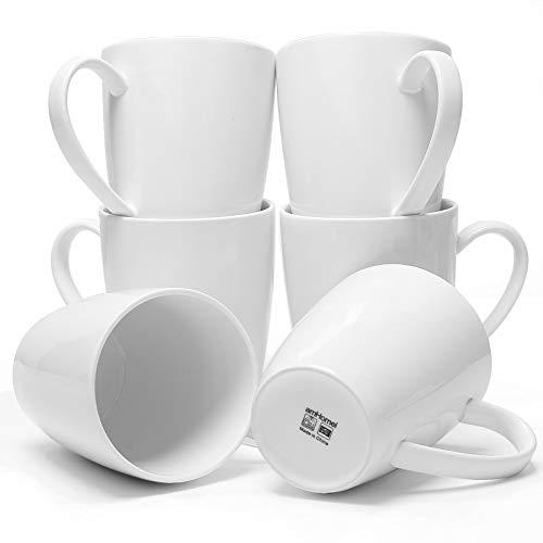 amHomel Coffee Mugs,Set of 6 Large Coffee Mugs - 16 Ounce for Coffee, Tea, Cocoa,White