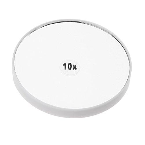 MagiDeal Miroir Mural Miroir de Maquillage Grossissant 10x Ventouse d'Attache pour Chambre à Coucher/Salle de Bain/Bureau - Blanc