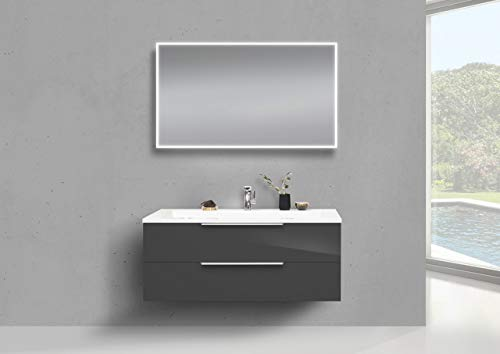Intarbad ~ Badmöbel Set 120 cm Waschtisch Evermite, mit Unterschrank und Led Lichtspiegel Bramberg Fichte