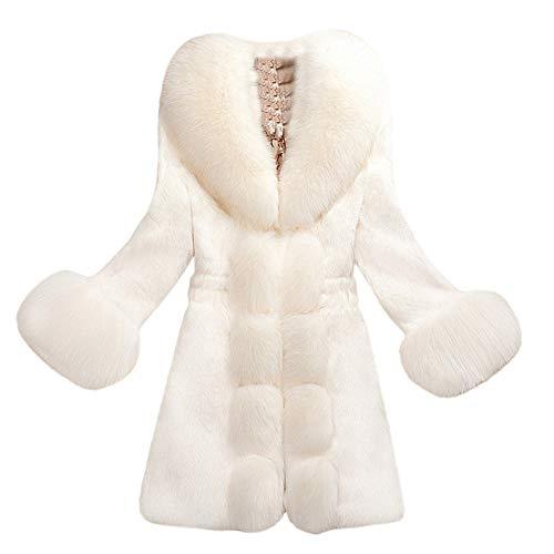 Geili Damen Mantel Winter Elegant Warm Faux Fur Kunstfell Jacke Lang Kunstpelz Flauschiges Coat Outwear Parka Fellmantel Einfarbige Wintermantel für Frauen Große Größe
