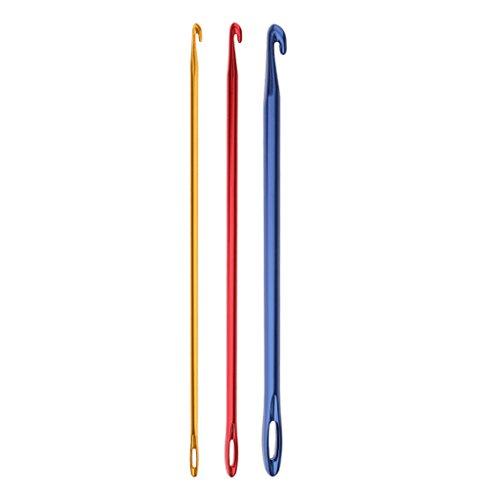 Häkelnadel: Afghanisch/Tunesisch: Einseitig, Mit Loch, Aluminium, Rot, Blau, Gelb, 3 Stü