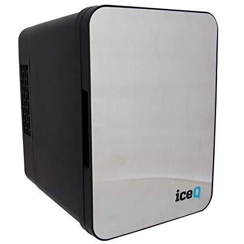 iceQ 4 Litre Small Mini Fridge Cooler & Warmer | Stainless Steel/Black | 4 Litre Capacity | AC+DC Power | Drinks Fridge