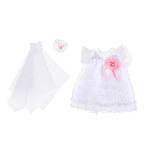Fenteer Schöne Puppe Brautkleid Hochzeitskleid mit Schleier Hochzeit Outfit Für MellChan Babypuppe Dress Up