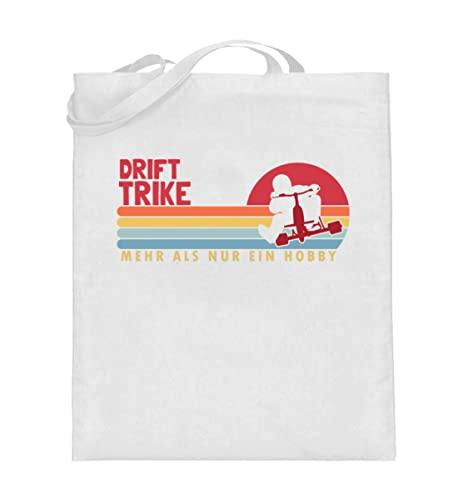 Generisch Drift Trike | 01451 - Bolsa de yute (con asas largas), Blanco, 38cm-42cm
