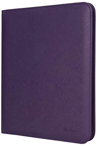 Ben Sherman Vegan Saffiano Leather Bi-fold Padfolio Binder Writing Pad For School, Work, Or Travel, Purple
