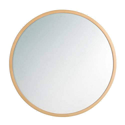 Miroir de Salle de Bain, Miroir Mural de Chambre, Miroir de Maquillage, Grand Miroir Rond, Bois Massif