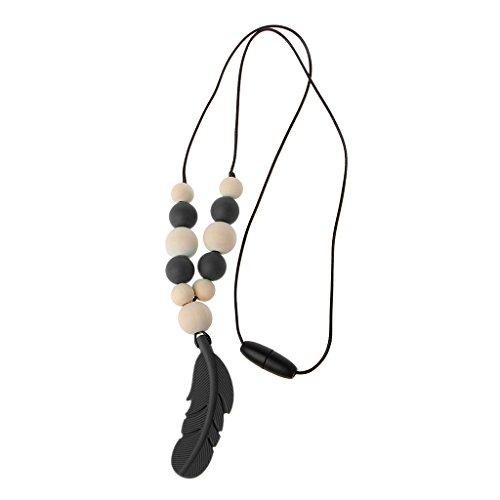 chenpaif Collar de dentición, joyería de Plumas de Silicona para bebés, Collar de dentición para Lactancia, Juguetes para Masticar, Negro