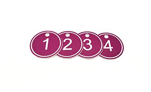 Etiquetas de plástico ABS con anilla para llavero, número grabado, 35mm, 50unidades, color morado 1 to 50