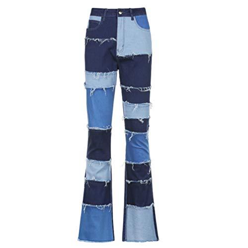 VALICLUD 1 par Feminino Patch Flare Jeans Calça Cintura Alta Calça Boca de Sino Calça Feminina