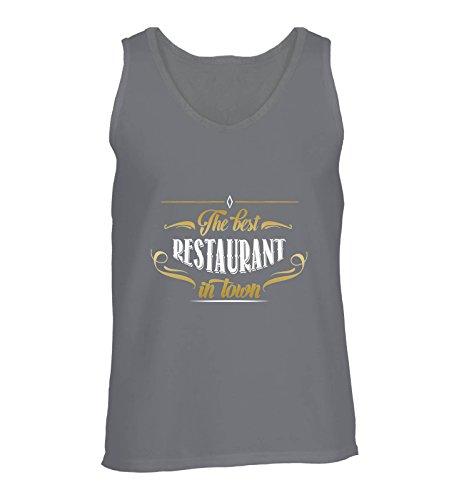 Comedy Shirts - The Best Restaurant in Town - Herren Tank-Top - Dunkelgrau/Gold-Weiss Gr. XL