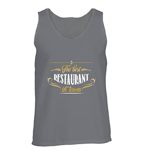Comedy Shirts - The Best Restaurant in Town - Herren Tank-Top - Dunkelgrau/Gold-Weiss Gr. XL